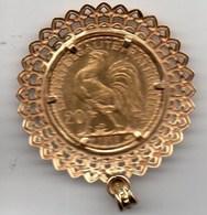 20Fr Coq 1910 Monté Sur Pendentif Or - Or