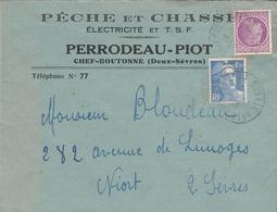 LSC Pour Niort - Entête  PECHE Et CHASSE Electricité Et T.S.F. - PERRODEAU-PIOT à   CHEF-BOUTONNE (Deux Sèvres) - 1921-1960: Moderne