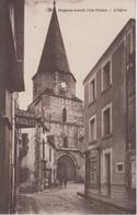 CPA Magnac-Laval - L'église (animation Avec Restaurant Rigolet Et Magasin De L'éditeur Labarre - Autres Communes