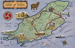 Postcard Map Isle Of Man [ Salmon ] My Ref  B12955 - Maps