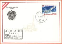 AUSTRIA - ÖSTERREICH - 1983 - 6S 25 Jahre Austrian Airlines + Special Cancel Tembal '83 Basel Internationale Motiv-Brief - Esposizioni Filateliche