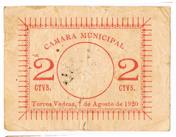 TORRES VEDRAS - CÉDULA DE 2 (NUMERO GRANDE) CENTAVOS DA CÂMARA MUNICIPAL DE TORRES VEDRAS. - Portugal
