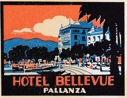 Etiquette De Bagage Valise 2 Tag Valigia Hotel Bellevue Pallanza  (Italia) Lago Maggiore état Neuf - Reclame