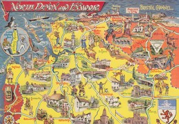 Postcard Map North Devon And Exmoor [ Bamforth ] My Ref  B23468 - Maps