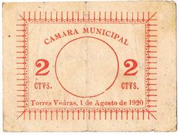 TORRES VEDRAS - CÉDULA DE 2 (NÚMERO PEQUENO) CENTAVOS DA CÂMARA MUNICIPAL DE TORRES VEDRAS. - Portugal