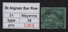St Aignan Sur Roe - Mayenne - Type Sage - Marcofilia (Sellos Separados)