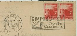 """""""RIMINI-BELLARIA,IGEA,VISERBA,MIRAMARE"""",TIMBRO TARGHETTA,1949, SU CARTOLINA ILL.RIMINI,EDIZ.MARCACCINI-RIMINI,RR - 6. 1946-.. Repubblica"""