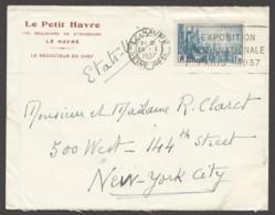 1937  Mouvement Universel Pour La Paix Yv 328- Seul Sur Lettre Pour Les USA - Postmark Collection (Covers)