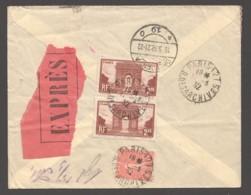 1932 Lettre Expres Pour L'Allemagne Arc De Triomphe Yv 258 X2, Semeuse Lignée 50c. Yv 199 - France