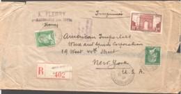 1933 Bande De Journal Recommandée Pour Les USA  Arc De Triomphe Yv 258, Pasteur 30c. Yv 174 X2 - France