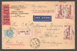 1938  Lettre Avion - Recommandée - Exprès Pour La Tchécoslovaquie Avigno 3fr Yv 391 X3 + Autres Et Vignette Voir - France