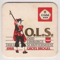 Bierviltje - Cristal Alken - Oud Limburgs Schuttersfeest - Kinrooi 1988 - GROTE BROGEL - Sous-bocks