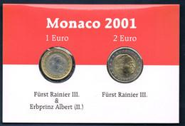 MONACO 2 PIÈCES 1 EURO & 2 EURO RAINIER III 2001 BU - Monaco