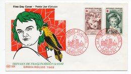 FDC France 1962 -  Croix Rouge 1962 Oeuvre De Fragonard - YT 1366 Et 1367 - Angoulême - FDC