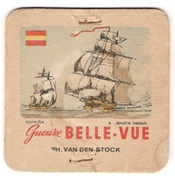 Bierviltje - Gueuze BELLE VUE - Zeilboten - Espana - Santa Maria - PH. VAN DEN STOCK - Sous-bocks