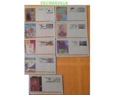 CB-AE, ESPAÑA, 8 AEROGRAMAS DIFERENTES, 1 NUEVO, 7 CON MATASELLOS DE PRIMER DIA, 90% DE DESCUENTO. - Cartas