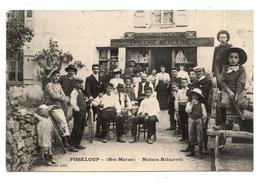 CARTE POSTALE,PISSELOUP HAUTE MARNE LE CAFE DU CENTRE.MAISON BALZARETTI.BELLE ANIMATION.                            .E.9 - France