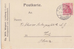 C Postkarte Pré-imprimée (Wihl. Wagner) Obl. Limburg Bahnhof Sur 10pf Germania = étr Le 2/9/17 Pour Thal En Suisse - Lettres & Documents