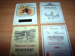 Lot 4 Etiquettes Vin Wine Label Bergerac Chateau Plaisance Monsieur Jean De Rick 1985 1989 Cyrano - Bergerac