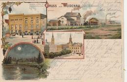 GRUSS Aus WEIDENAU - 4 LITHOS ANSICHTEN (JUNGS HOTEL & WEINHANDLUNG - BAHNHOF - LOHTEICH - RINGPLATZ ) Verlag FREYMANN A - Sudeten