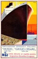 "NAVIGAZIONE GENERALE ITALIANA : PAQUEBOT ""DUILIO"" & ""GIULIO CESARE"" - ADVERTISING For ROMANIA - F. ROMOLI ~ 1930 (aa874) - Paquebots"