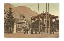 CT--02867-- BUSTENI - BISERICA DOMNEASCA - VIAGGIATA FINE 1909 - 1910- FRANCOBOLLO ASPORTATO - Romania