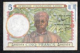 5F Afrique Française Libre - Banknoten