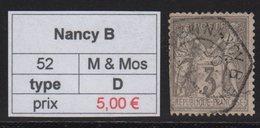 Nancy B - Meurthe Et Moselle - Type Sage - Marcofilia (Sellos Separados)