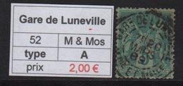 Gare De Luneville - Meurthe Et Moselle - Type Sage - Marcofilia (Sellos Separados)