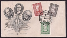 Argentina - FDC - 1959 - XXI Congrès International Des Sciences Physiologiques - Harvey - Bernard - Pavlov - Medicina
