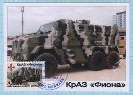 UKRAINE / Maidan Post / Maxi Card / Military Equipment . Antiterrorist Operation. Auto. KrAZ  Fiona 2016. - Ukraine