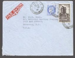 1938  Lettre Avion Pour Les USA - Donjon Vincennes Yv 393, Cérès Mazelin 2,25fr Yv 374 - Lettres & Documents