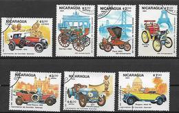 NICARAGUA 1984 AUTOMOBILI VECCHIE YVERT. 1338-1341+POSTA AEREA 1065-1067 USATA VF - Nicaragua