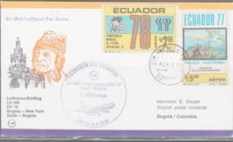 ECUADOR - 1979  - DC 10   ILLUSTRATED FIRST FIGHT COVER OUITO TO BOGATA - Ecuador