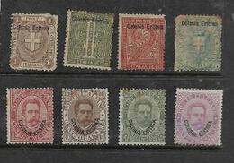 Eritrea, 1893 5,  8 Values, Between 1/2 Cent & 60 Cents, MH *, Gum Tone - Eritrea