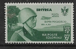 Eritrea, 1934, Roma- Mogadiscio Flight  25 Lire +2, Air Mail, MH * - Eritrea