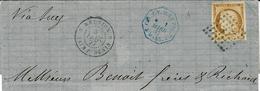 1877- Demi-lettre De Saint-Denis  Entrée Bleue  à Marseille Affr. N°13 ( 3 Marges ) Oblit. Losange De Points Bleu - Reunion Island (1852-1975)