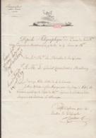 Télégramme Chappe Avec Vignette Emblématique 8 Octobre 1811 Du Ministre De La Guerre à PARIS Au Général Commandant à STR - Documents Historiques