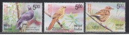 India MNH 2017, Set Of 3, Vulnerable Birds, Pigeon, Nilgir Pipat, Broad Tailed Grass Warbler - India