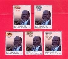SOUTH SUDAN 5 Unadopted Proof Overprint Stamps On 3.5 SSP Dr John Garang Südsudan Soudan Du Sud - Sudan Del Sud