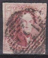 België 1858 Leopold I Medaillons 40 Centimes Roodbruin Ongetand Michel 9 I Gestempeld - 1858-1862 Medaillen (9/12)