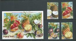 Pitcairn Islands 2001 Tropical Fruits Set 4 & Miniature Sheet MNH - Stamps