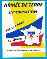AUTOCOLLANT ARMEE DE TERRE INFORMATION RECRUTEMENT CARRIERES INFO CHALONS-SUR-MARNE - Autocollants