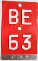 Velonummer Bern BE 63 - Number Plates