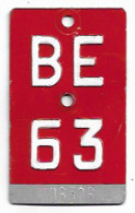 Velonummer Bern BE 63 - Plaques D'immatriculation