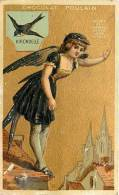 Chocolat Poulain : L'Hirondelle. Gaufrée. Chromo Dorée 6.5 X 10.5 Env.  2 Scans - Poulain