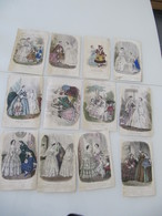 """Lot De 12 Gravures Colorisées """"Magasin Des Demoiselles"""" """"Musée Des Familles""""1856-1860 Mode - Vieux Papiers"""