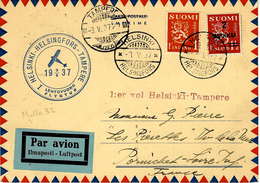 3-5-1937 - C P A   Fr. 3 M -   HELSINKI -HELSINGFORS - TAMPERE  To France  ( Muller 32 ) - Airmail