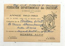 Carte De Membre Actif FEDERATION DEPARTEMENTALE DES CHASSEURS D'Indre Et Loire,1962 , 2 Scans - Oude Documenten