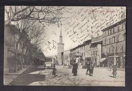CPA 26 - ROMANS - Place Jacquemart - TB PLAN CENTRE VILLE ANIMATION FONTAINE Magasins Oblitération 1904 - Romans Sur Isere